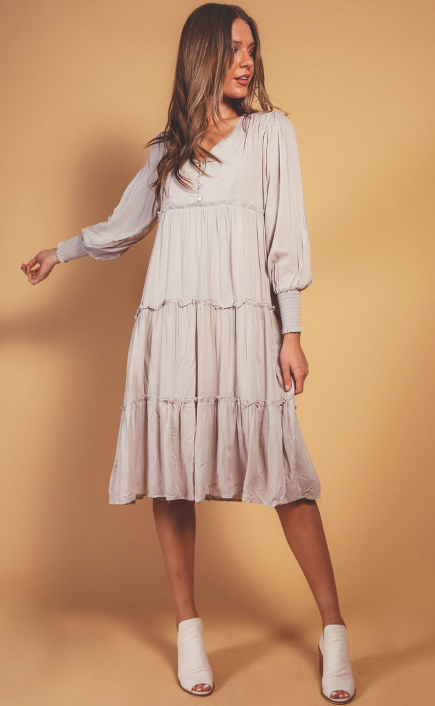 natural layered midi dress