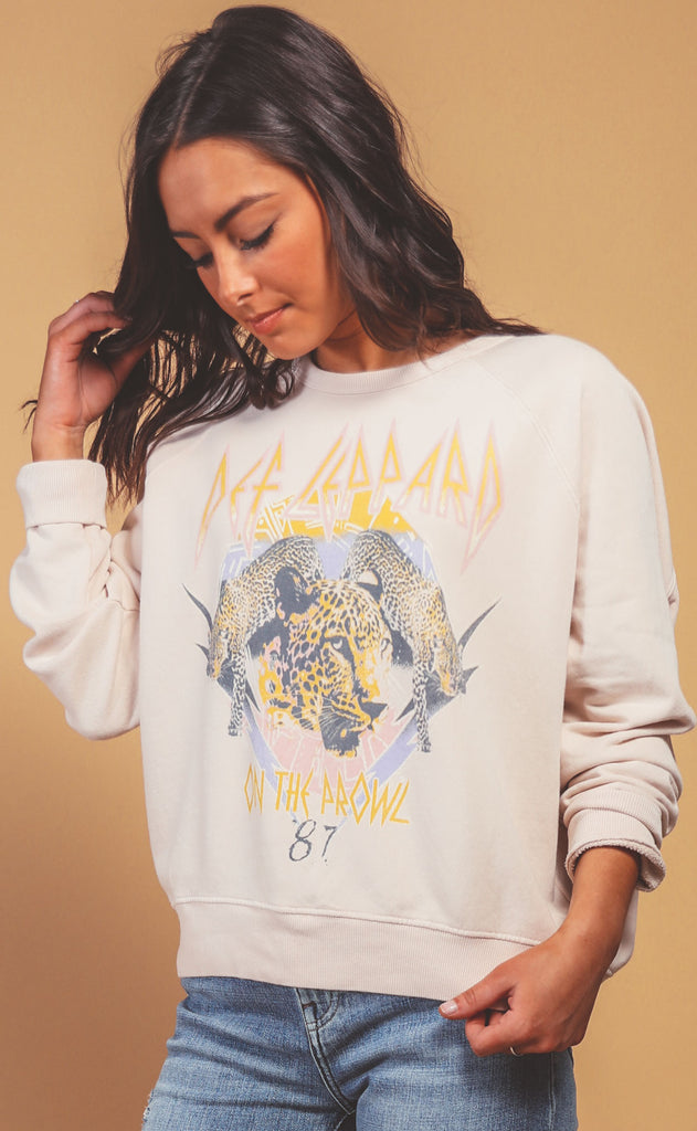 daydreamer: varsity crew sweatshirt - def leppard on the prowl