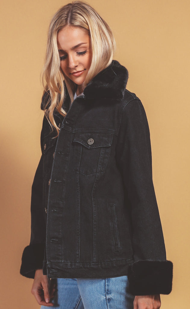 show me your mumu: denver denim jacket - washed black with faux fur
