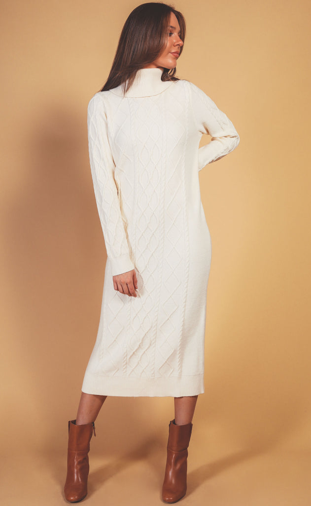 show me your mumu: montreal midi dress - cream cable knit