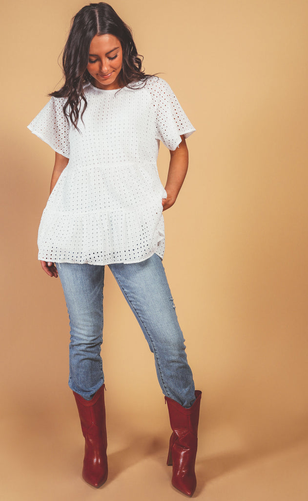 all year round eyelet babydoll top
