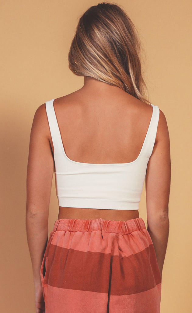 can't beat it seamless tank bra - cream