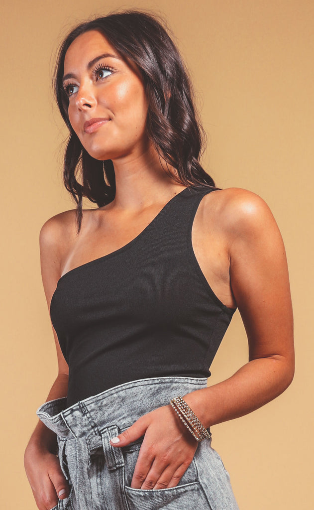 downtown one shoulder bodysuit - black