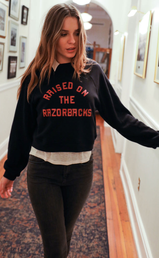 charlie southern: raised on the razorbacks crop sweatshirt