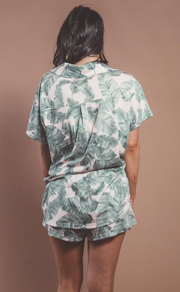 show me your mumu: sunday morning sleep set - green majestic palm