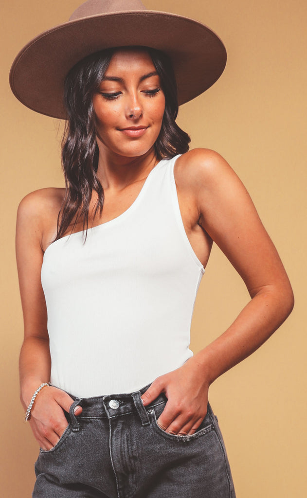downtown one shoulder bodysuit - ivory