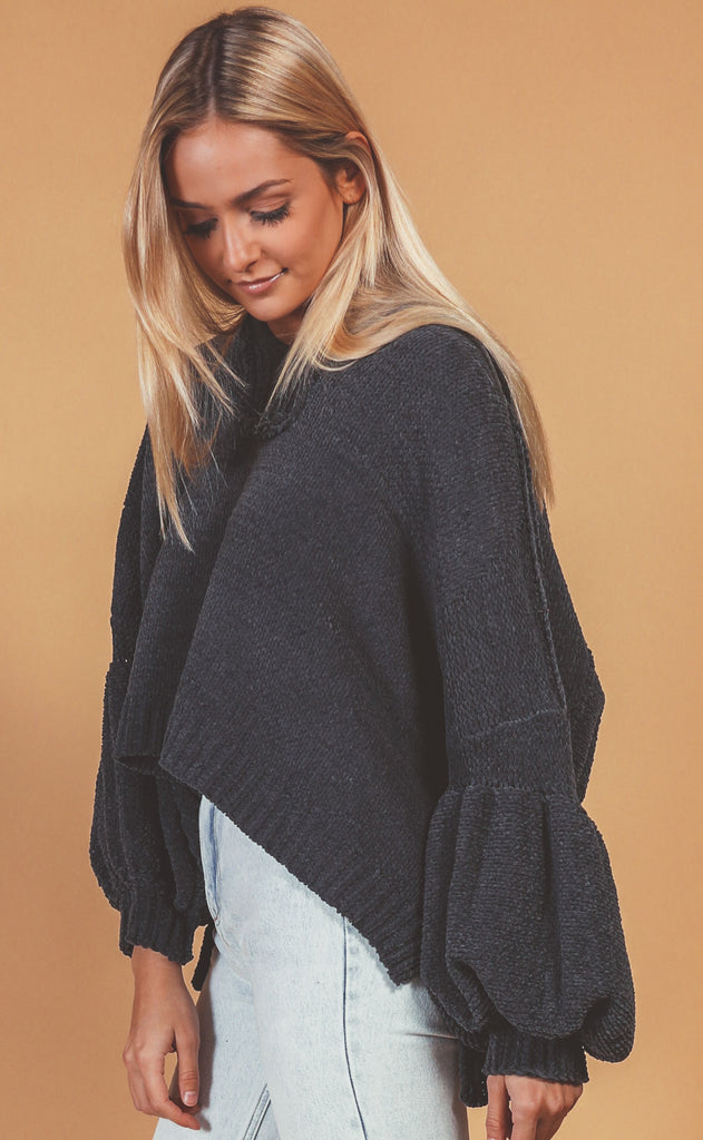 by the fireside hooded sweater - charcoal