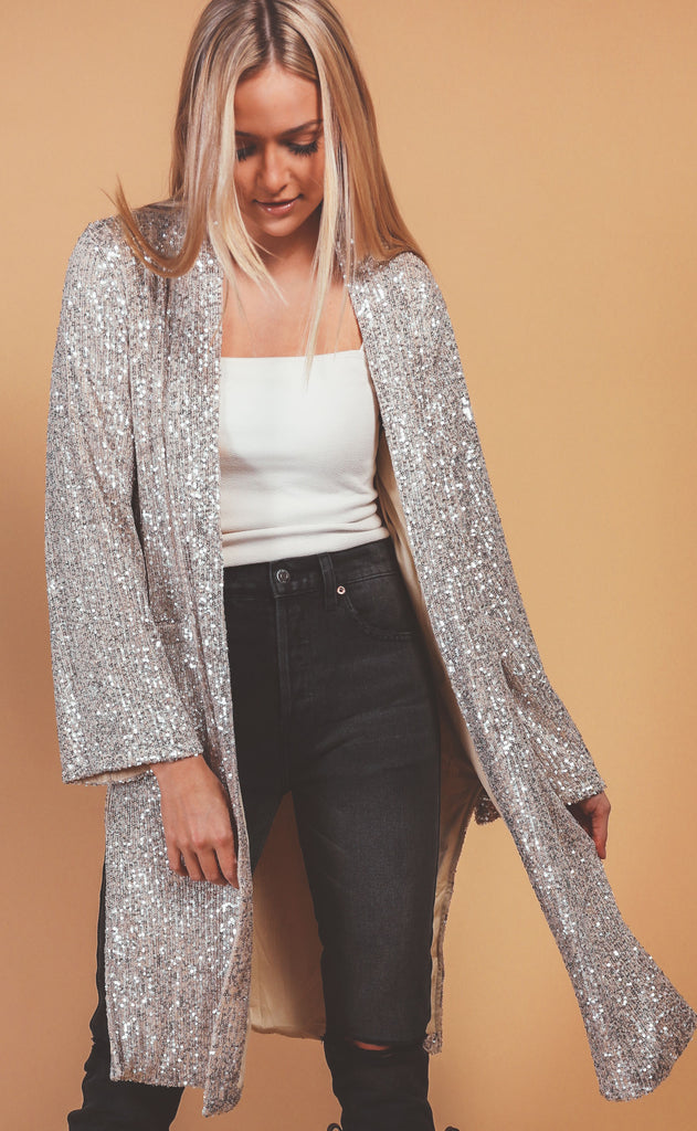 light up the night sequin duster