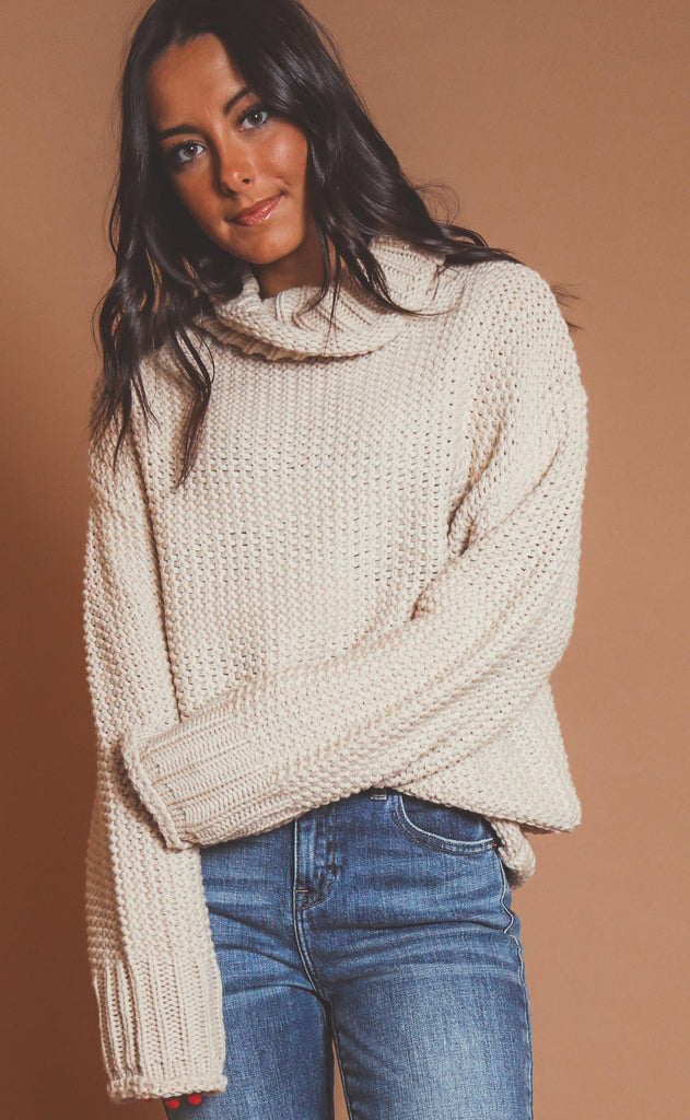 keeping cozy turtleneck sweater - oatmeal