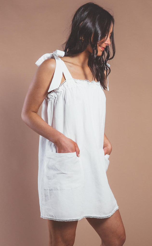 show me your mumu: sunshine dress - white linen
