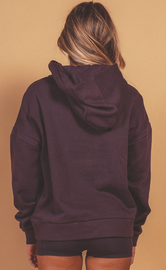 richer poorer: recycled fleece hoodie - blackberry wine