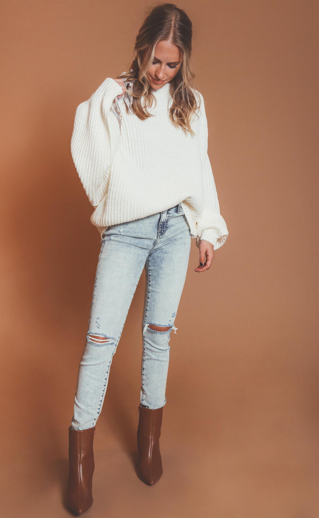 winter break mock neck sweater - cream