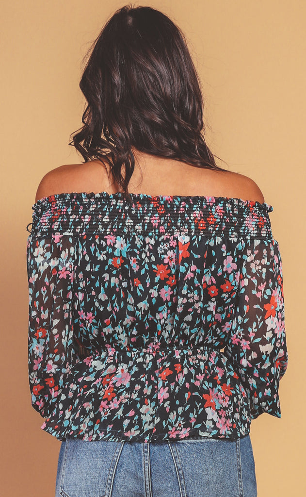 midnight florals printed top