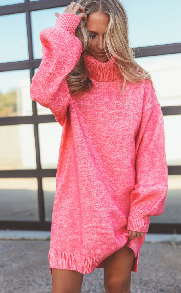 show me your mumu: chester sweater dress - hot pink knit