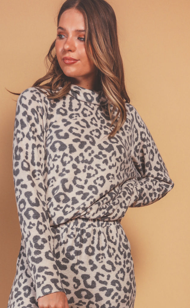 lounge in leopard drawstring pullover