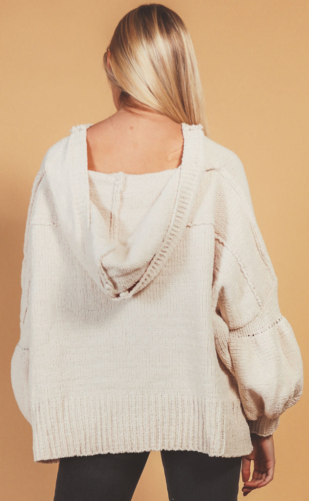 by the fireside hooded sweater - almond
