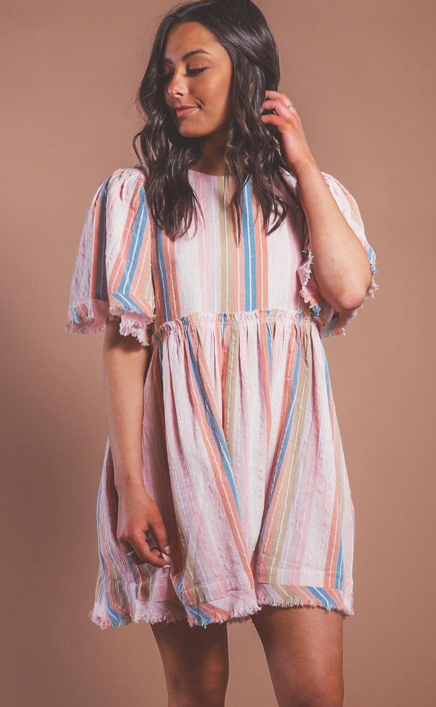 show me your mumu: brooks babydoll mini dress - paradise stripe