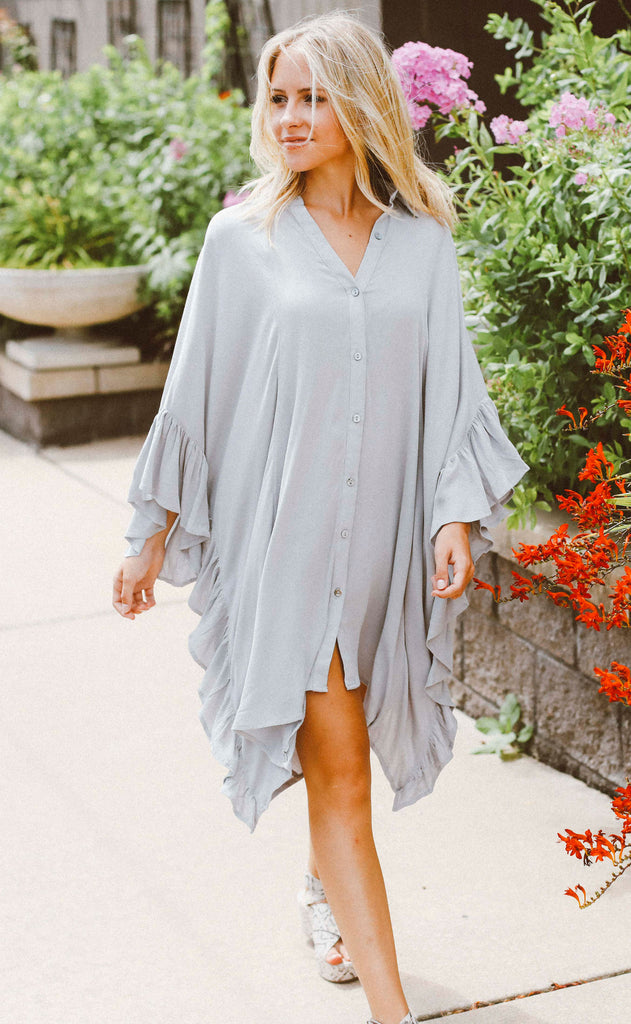 walk on the beach ruffle tunic - grey