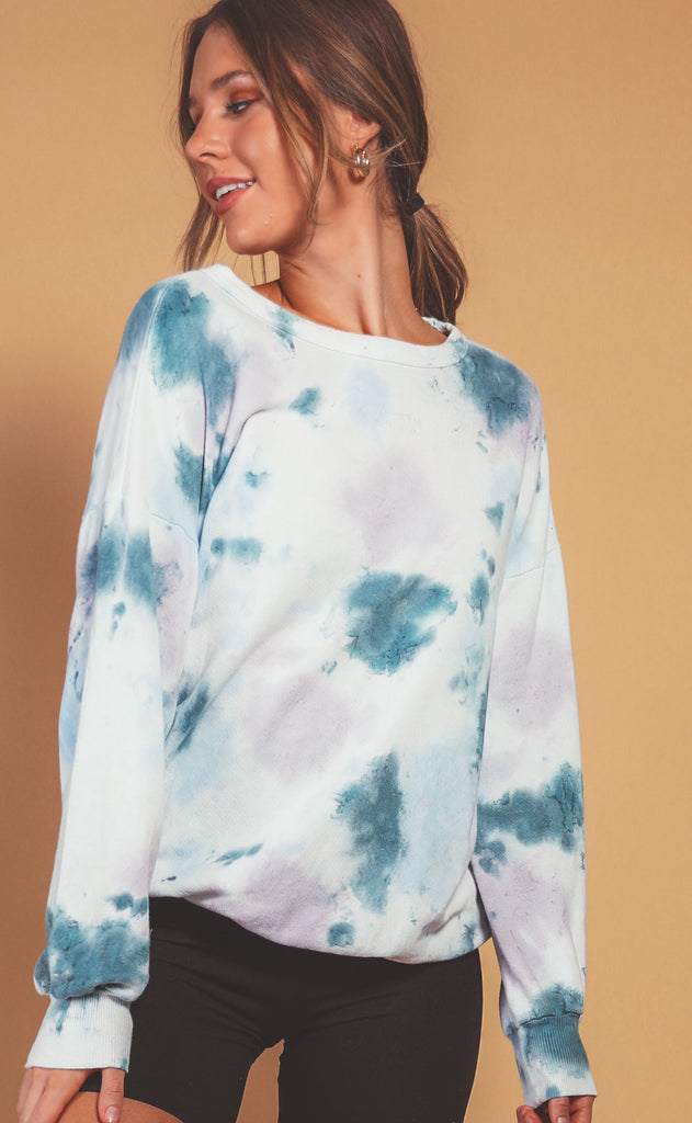 cloud nine tie dye sweatshirt top - blue