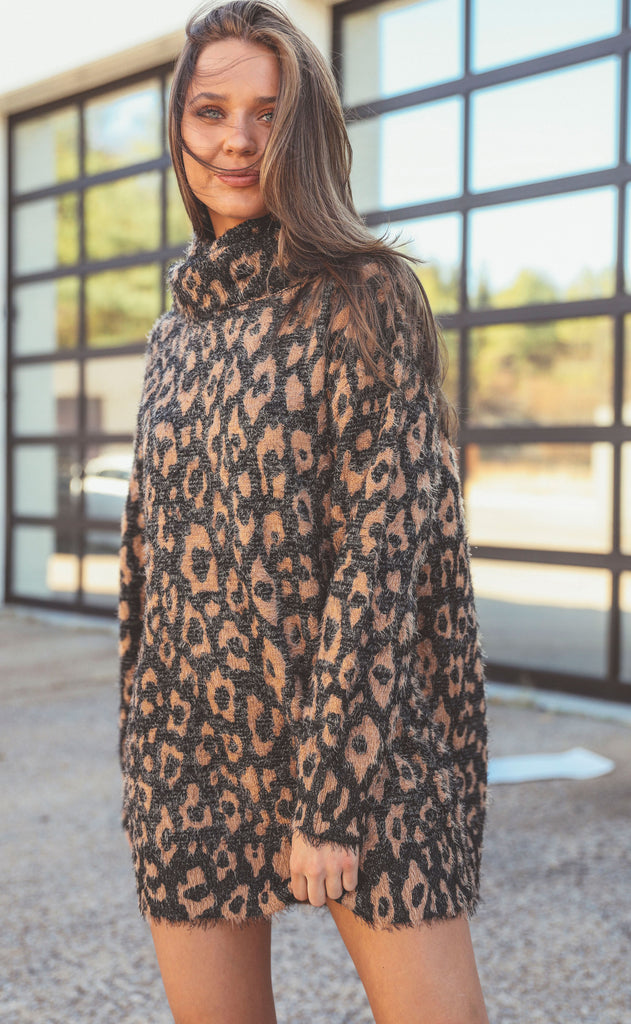 show me your mumu: fatima turtleneck dress - fuzzy leopard knit