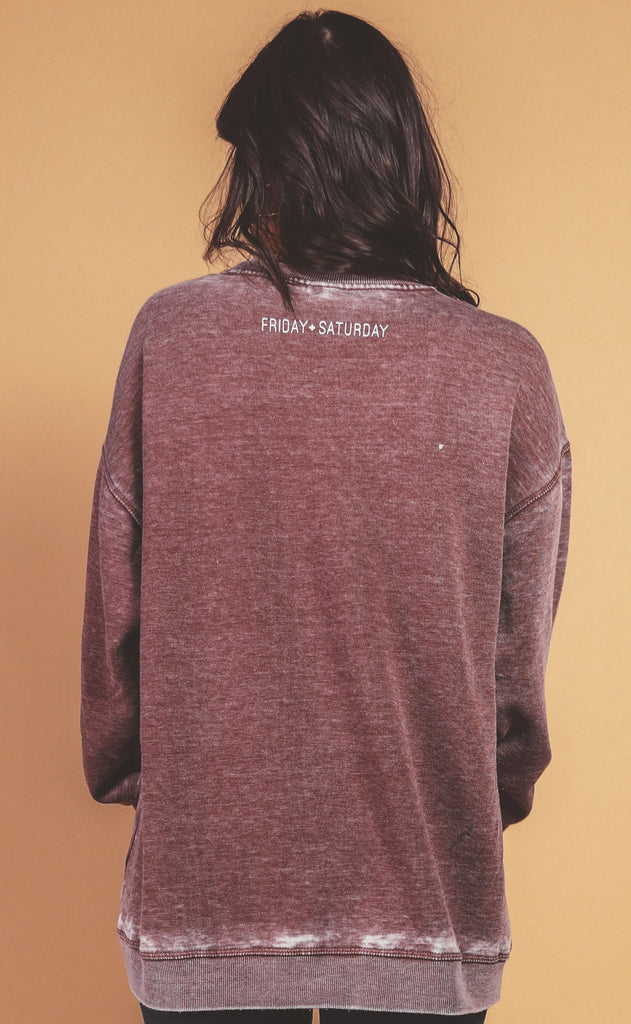 friday + saturday: momster campus crew sweatshirt - wine