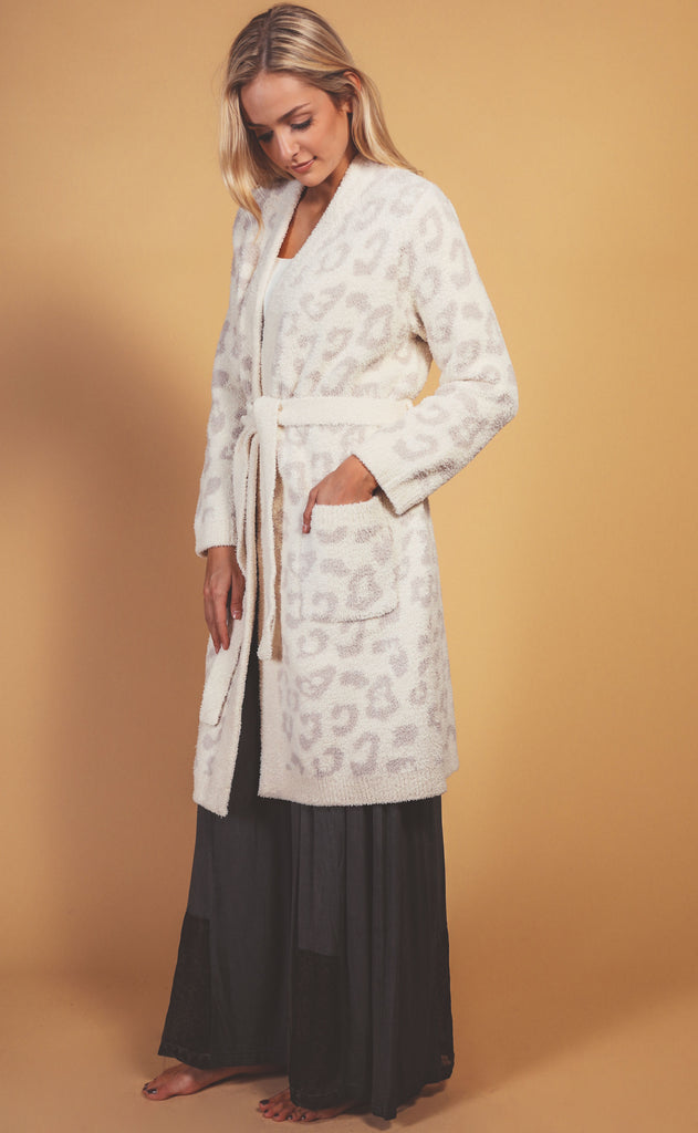barefoot dreams: cozychic in the wild robe - cream/stone