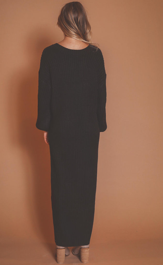free fall midi sweater dress - black