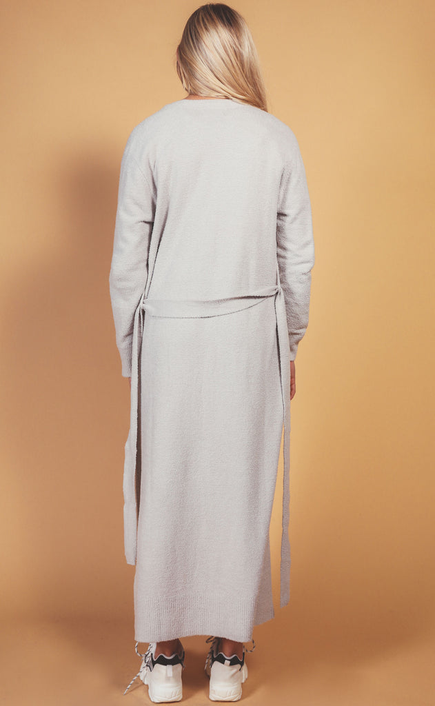 barefoot dreams: cozychic long robe - silver