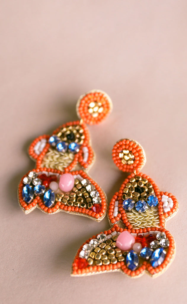 treasure jewels: fish earrings - orange