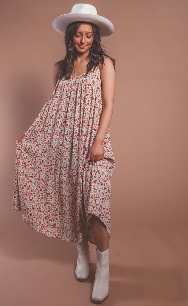 summer day printed dress - cream