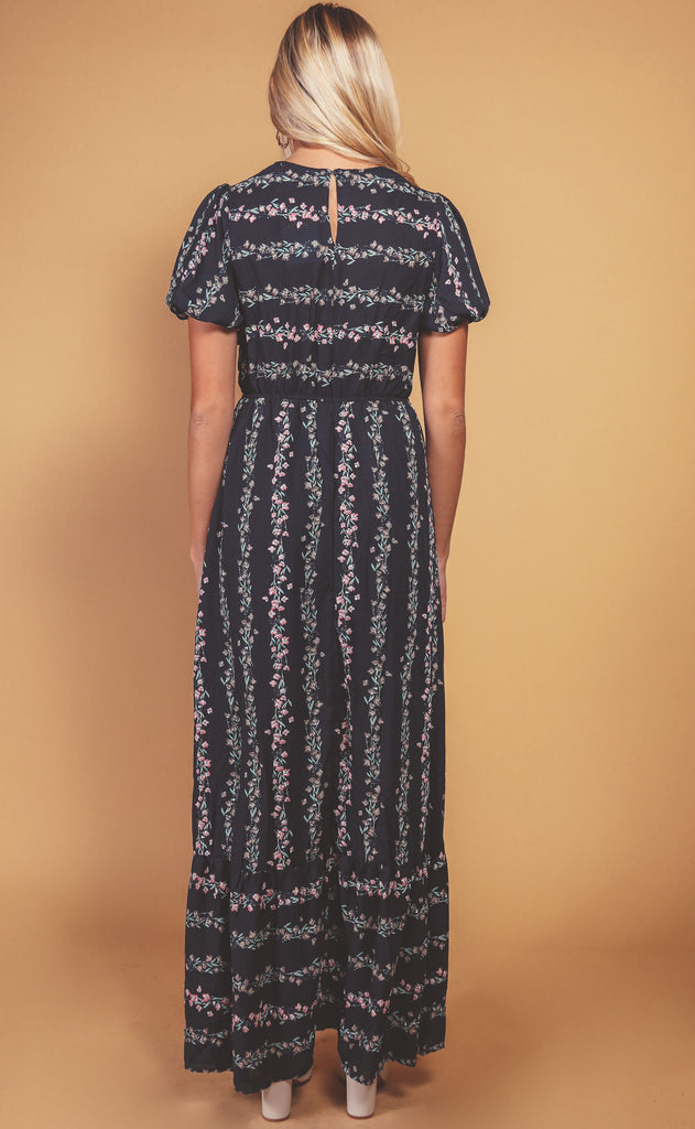 soiree floral maxi dress