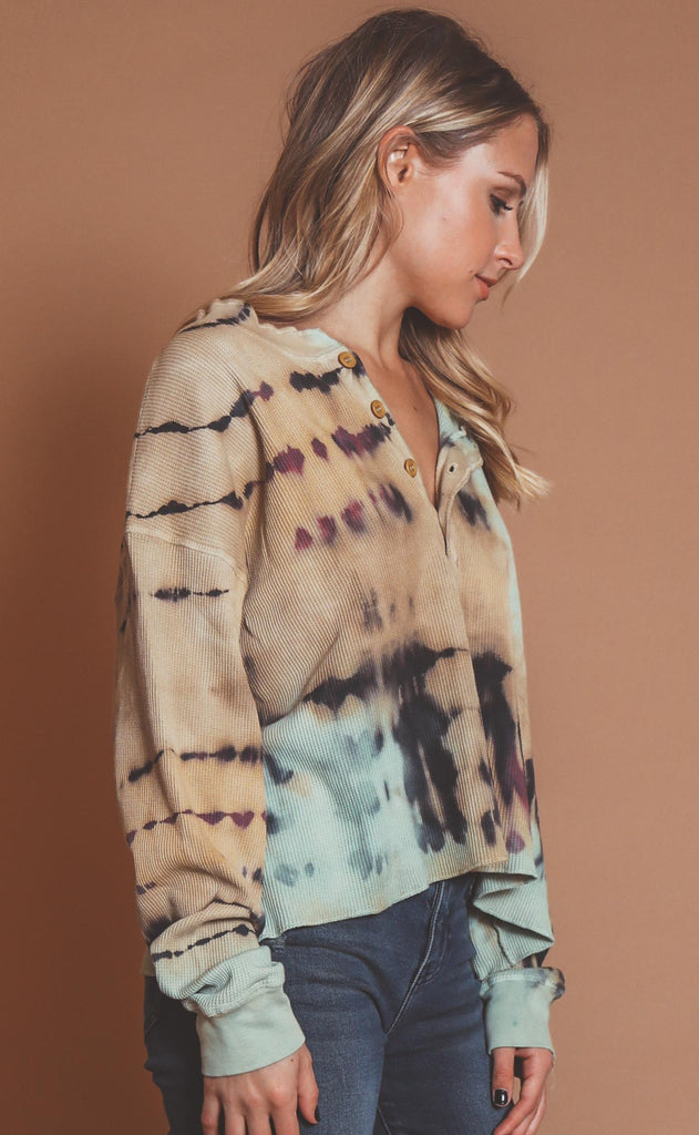 daydreamer: tie dye thermal henley
