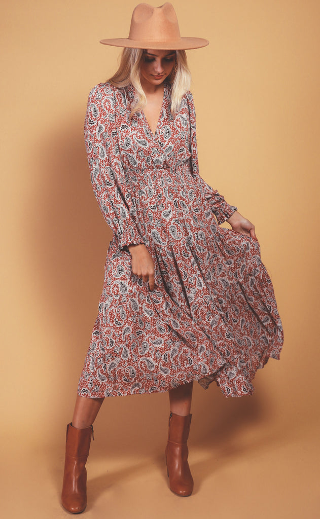 autumn paisley maxi dress