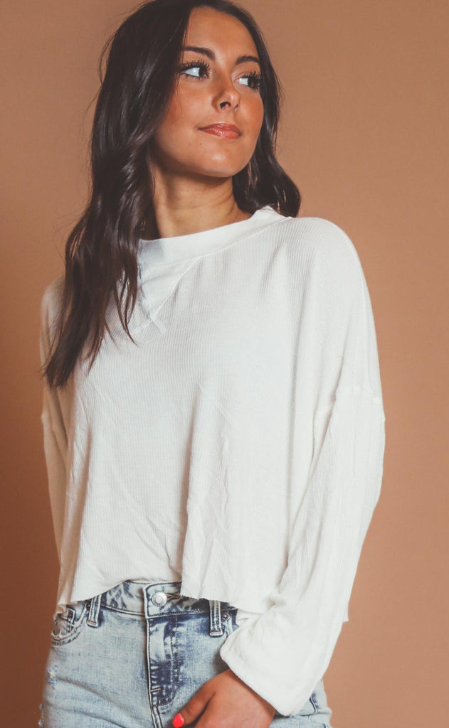ride with me ribbed top - ivory