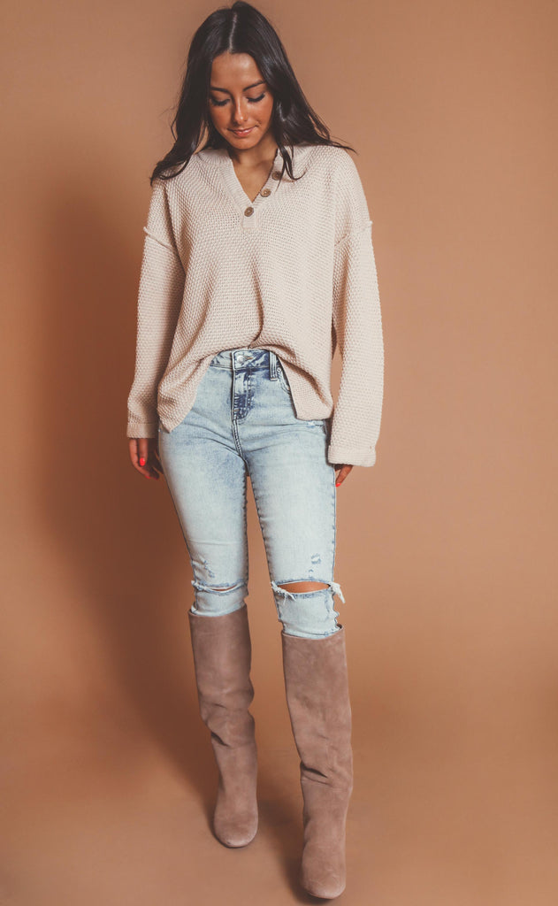 just because henley sweater - beige