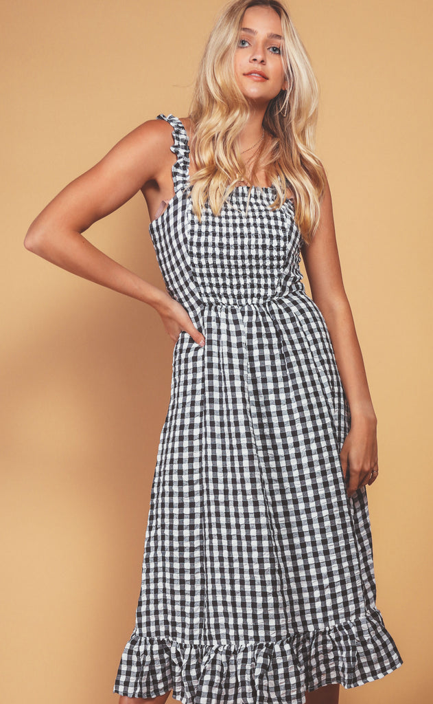 check it out gingham midi dress