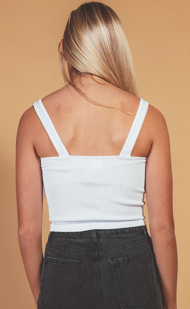 rib knit v-neck crop - white