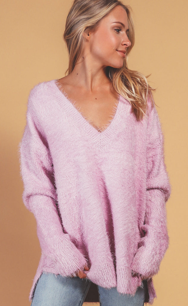 show me your mumu: cozy forever sweater - pretty pink knit