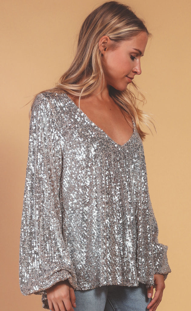 show me your mumu: chelsea top - platinum sequins