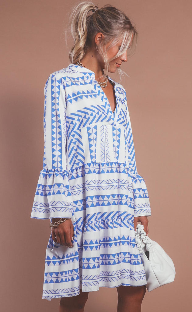 get geometric tiered dress