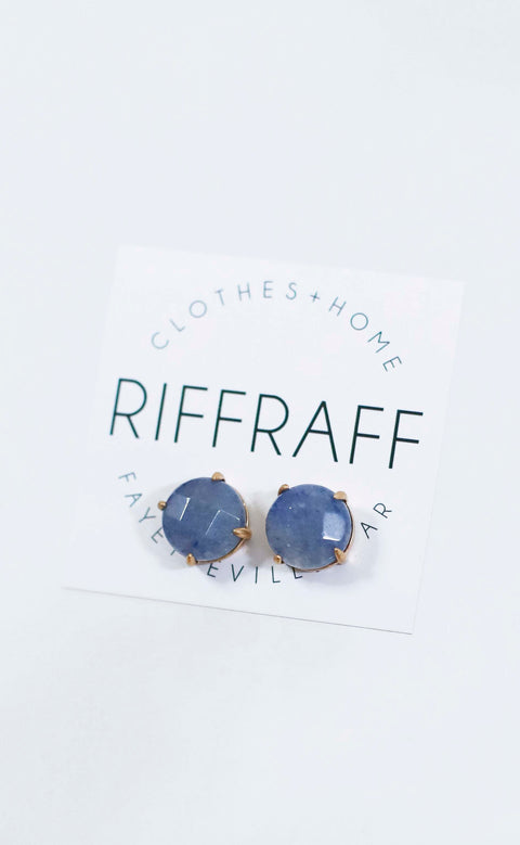 stone stud earrings - blue