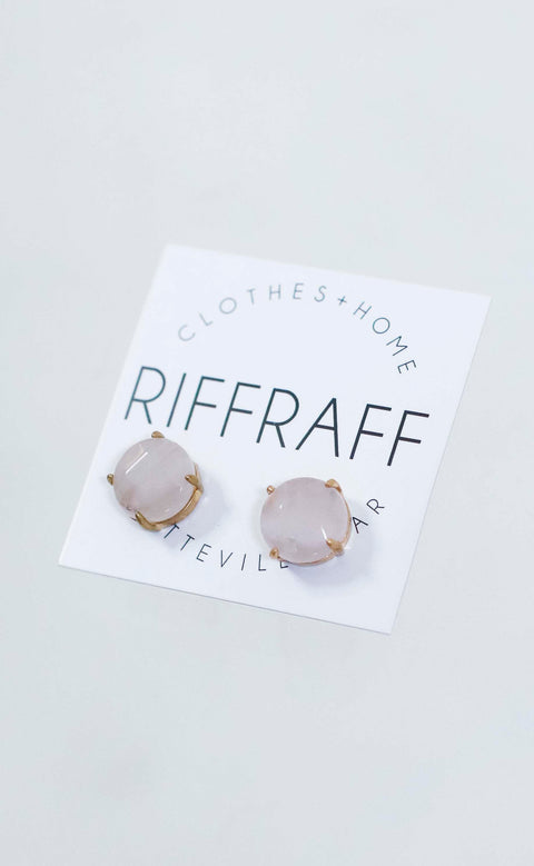 stone stud earrings - blush