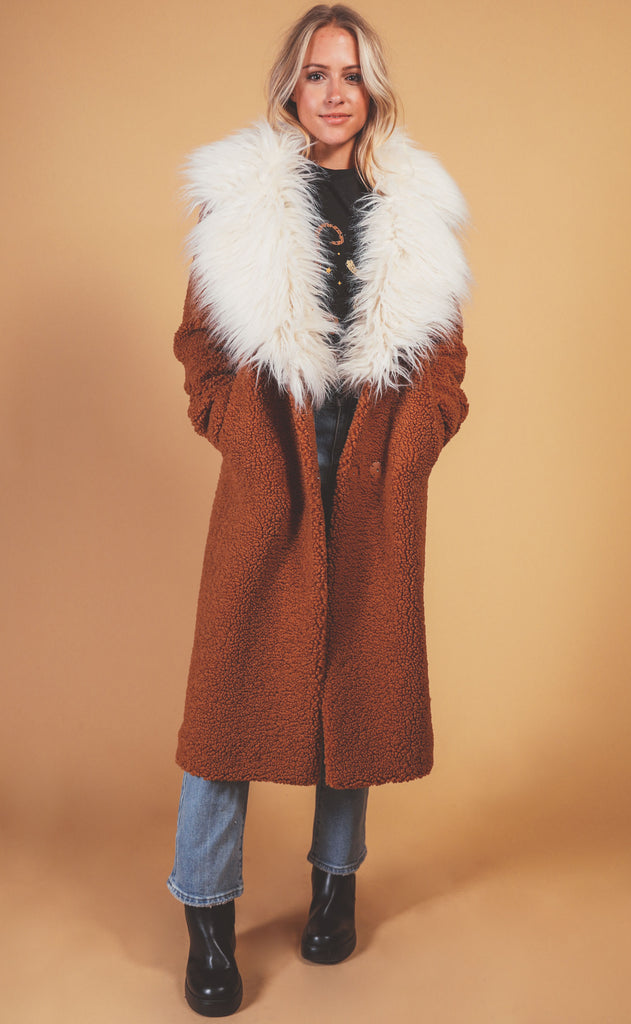 show me your mumu: stay warm jacket - mocha faux fur sherpa