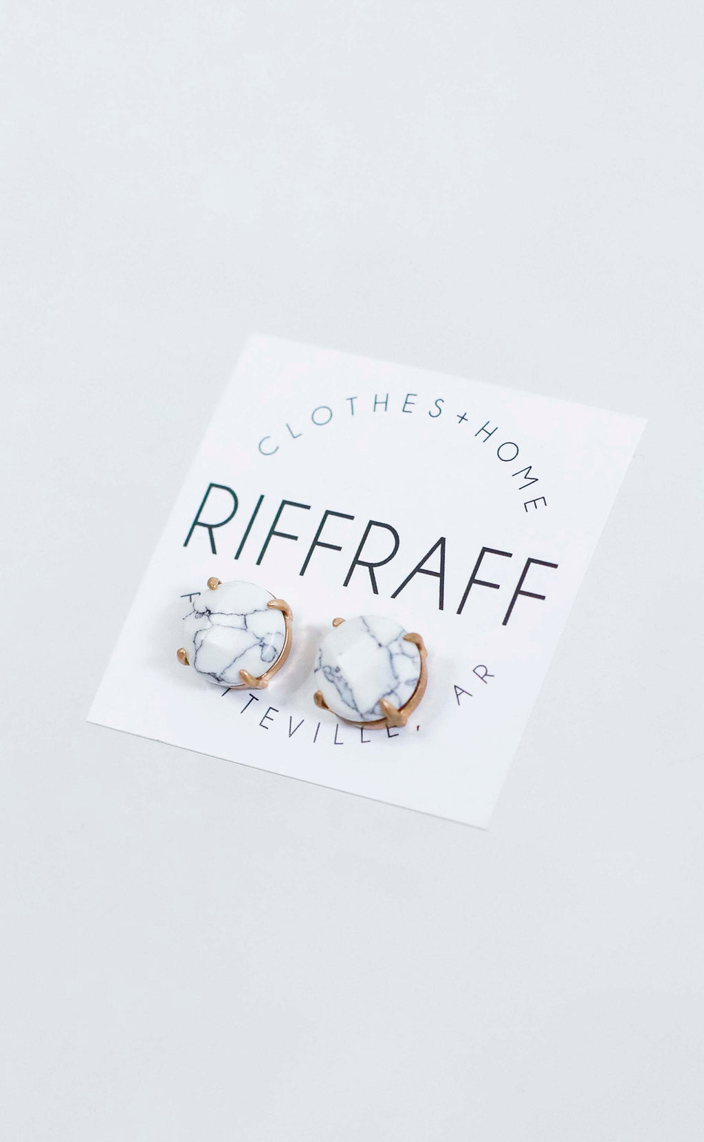 stone stud earrings - white marble