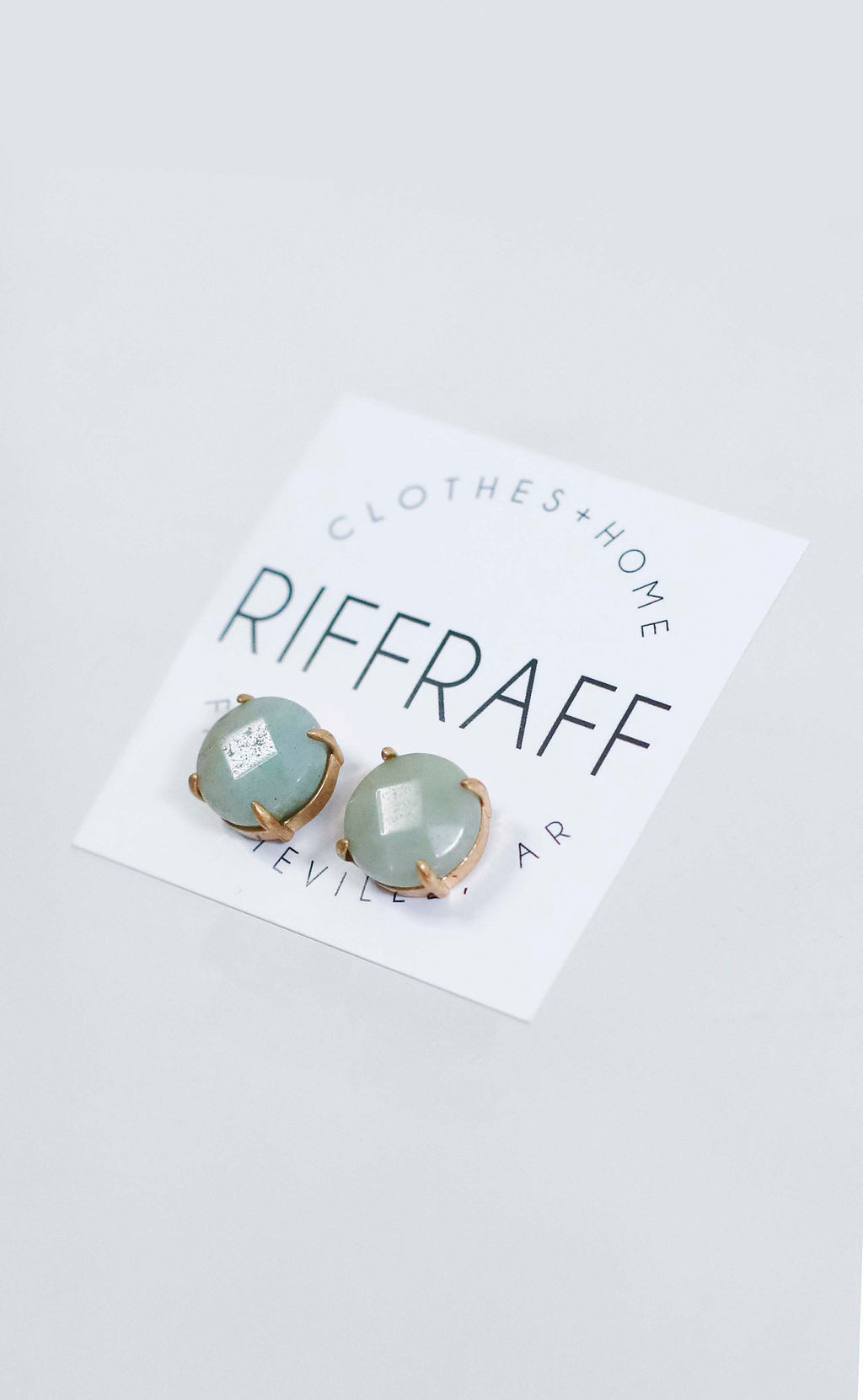 stone stud earrings - mint green