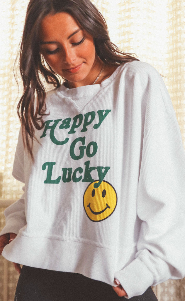 friday + saturday: happy go lucky smiley crop corded sweatshirt