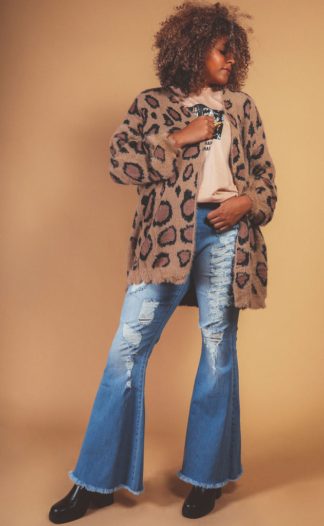 play for keeps leopard fuzzy cardigan - extended