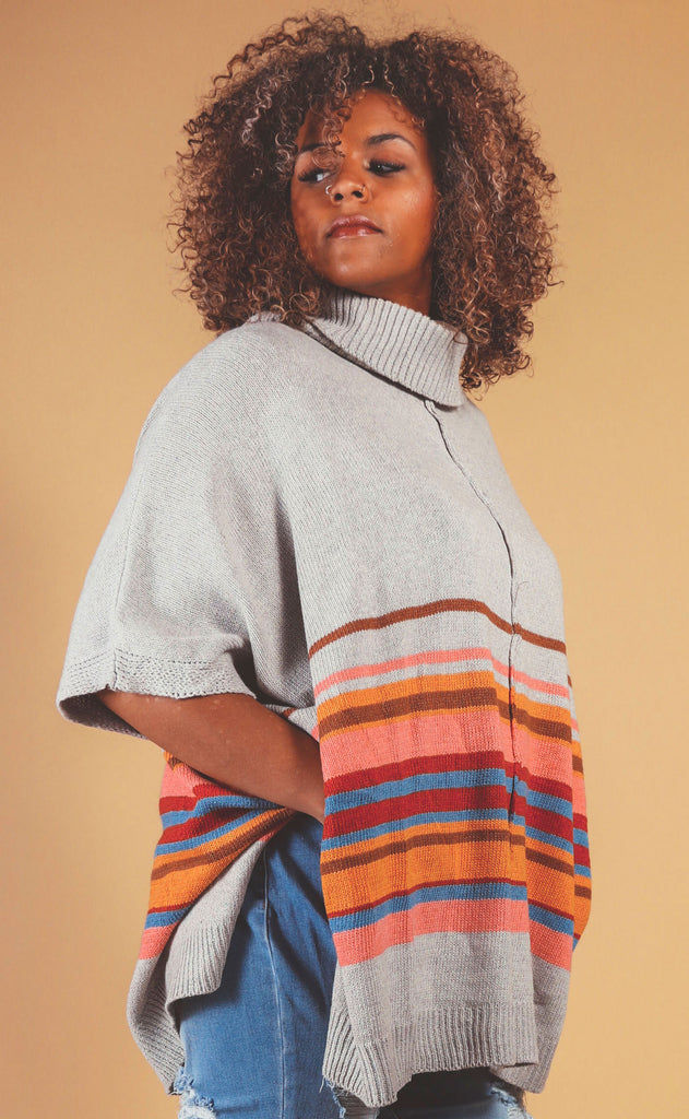 bright stripe turtle neck poncho - extended