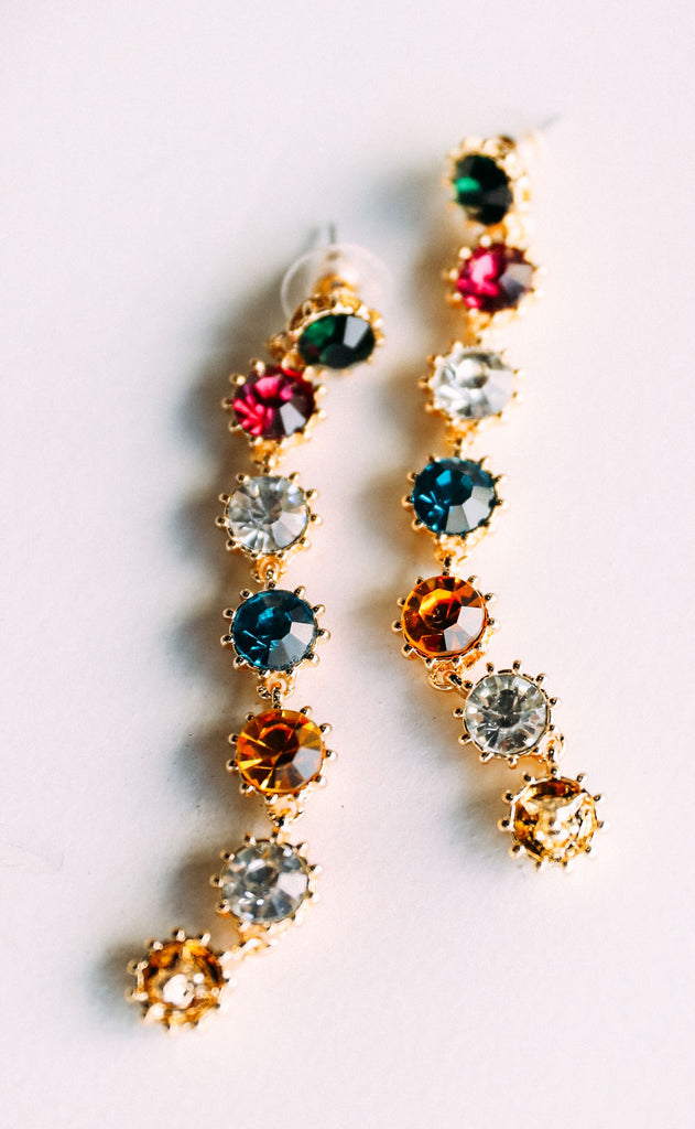 glamorous dangle earrings - multi