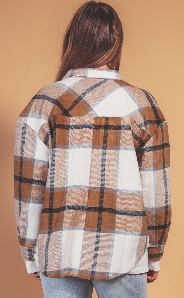 check yourself flannel jacket - camel
